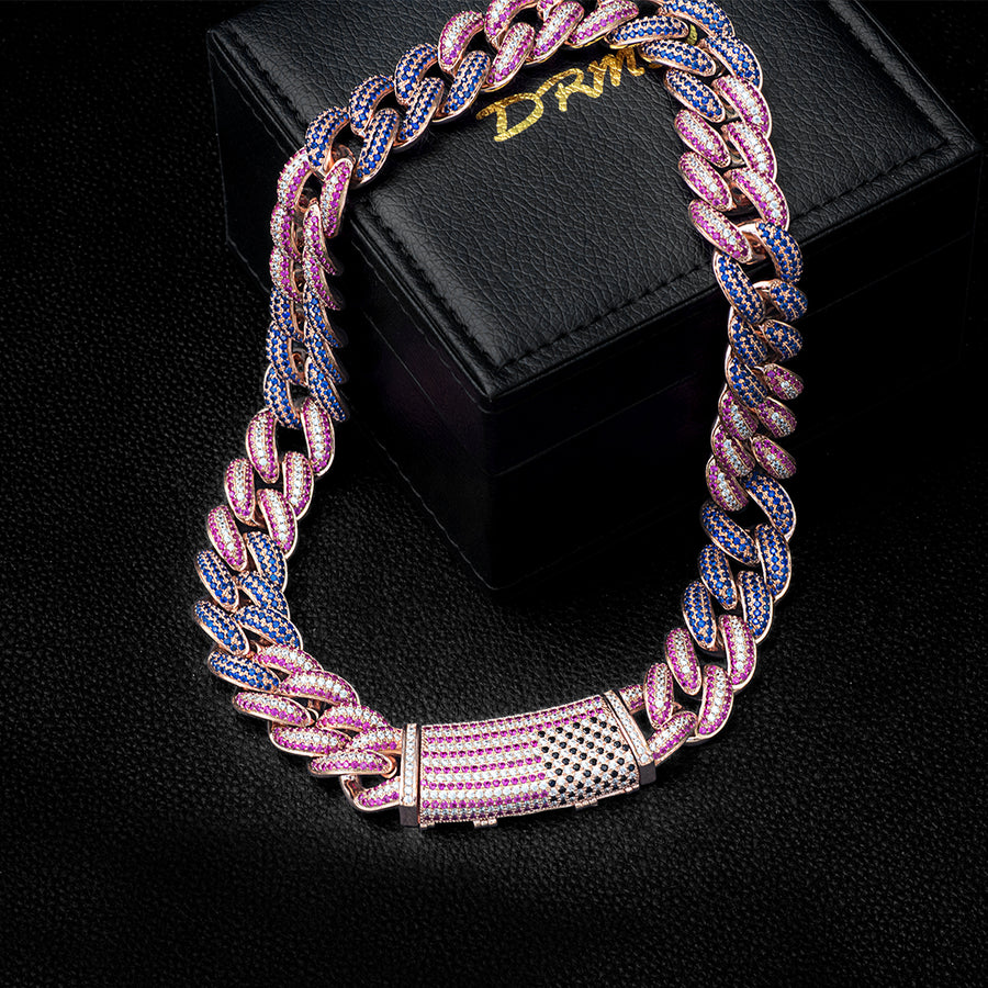 Diamond Tri-color Stones Gucci Chain (19mm)