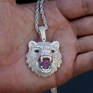 Iced King Tiger Head Necklace