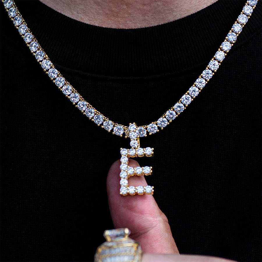 Diamond Single Initial Letter Necklace+Chain