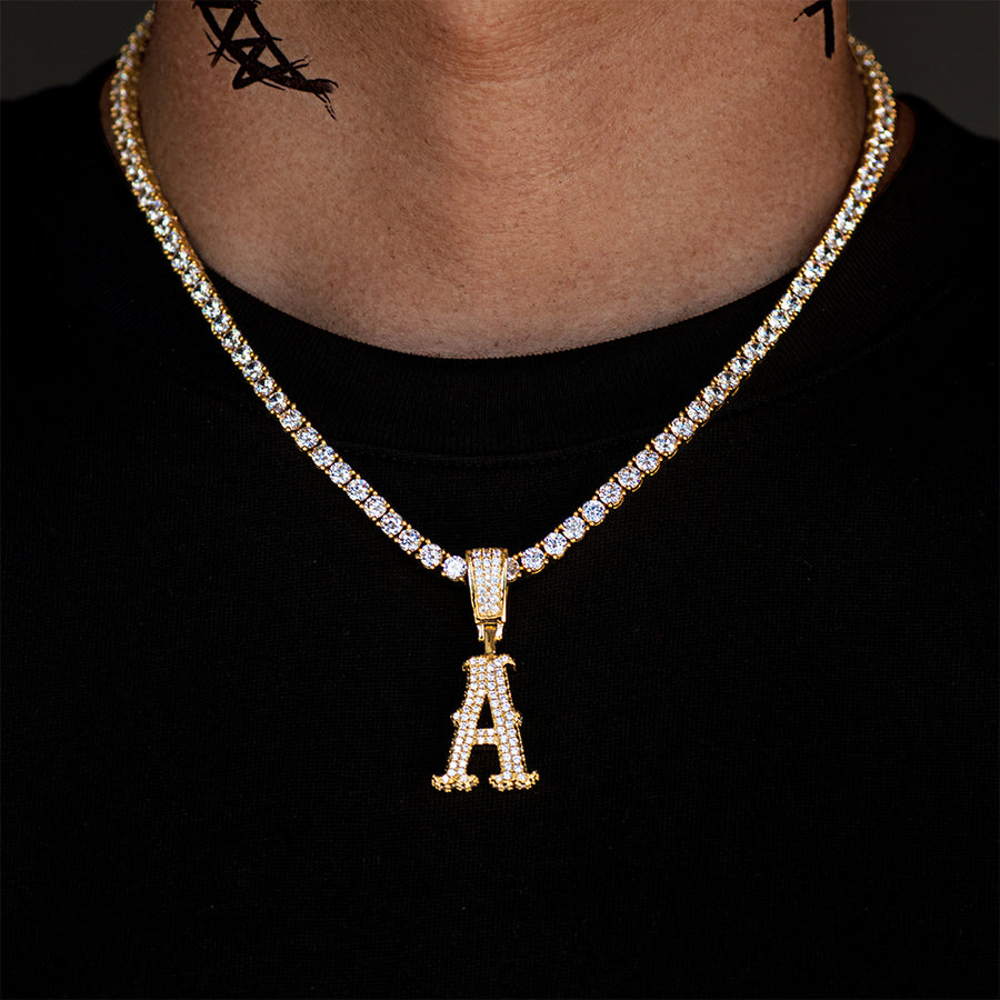Iced City Font Single Letter Necklace+Chain