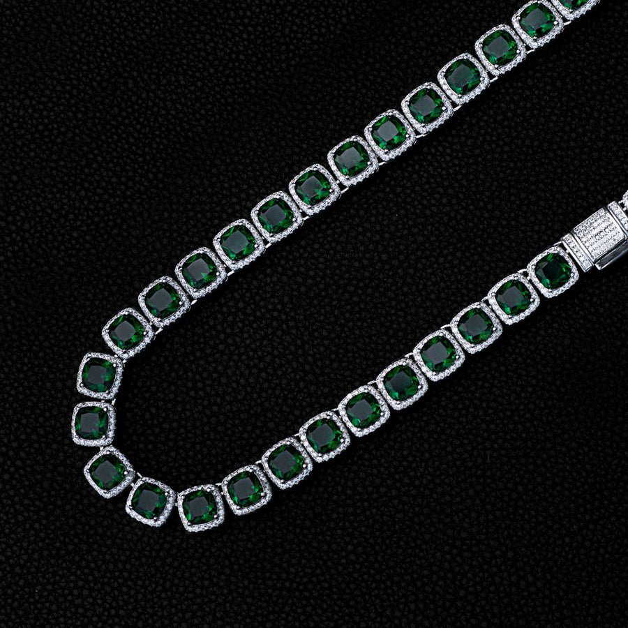 Green Stone Glacier Clustered Tennis Chain in White Gold