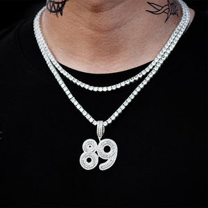 Custom Baguette Number Necklaces
