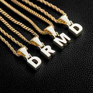 Solid Block Single Letter Necklace+Chain