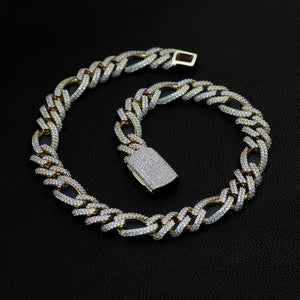 Iced Figaro Chain (19mm) in Yellow Gold