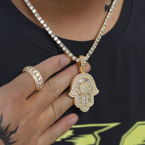 Iced Baguette Hamsa Hand Necklace