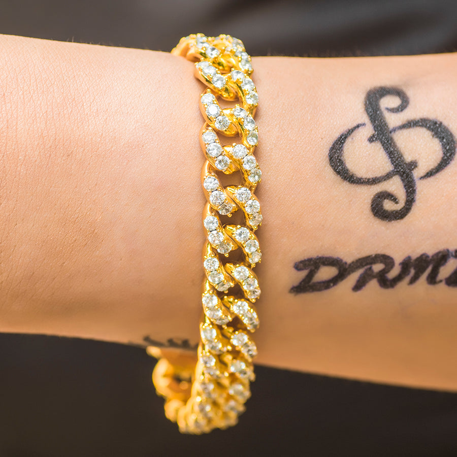 Large Stone Diamond Cuban Link Bracelet (10mm) in Yellow Gold