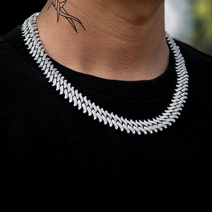 Diamond Spiked Link Chain (15mm) in White Gold