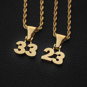 Custom Solid Block Number Necklaces