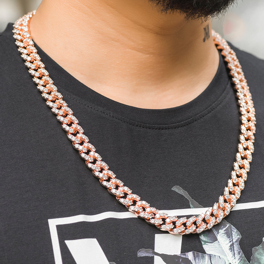 Large Stone Diamond Cuban Link Chain (10mm) in Rose Gold