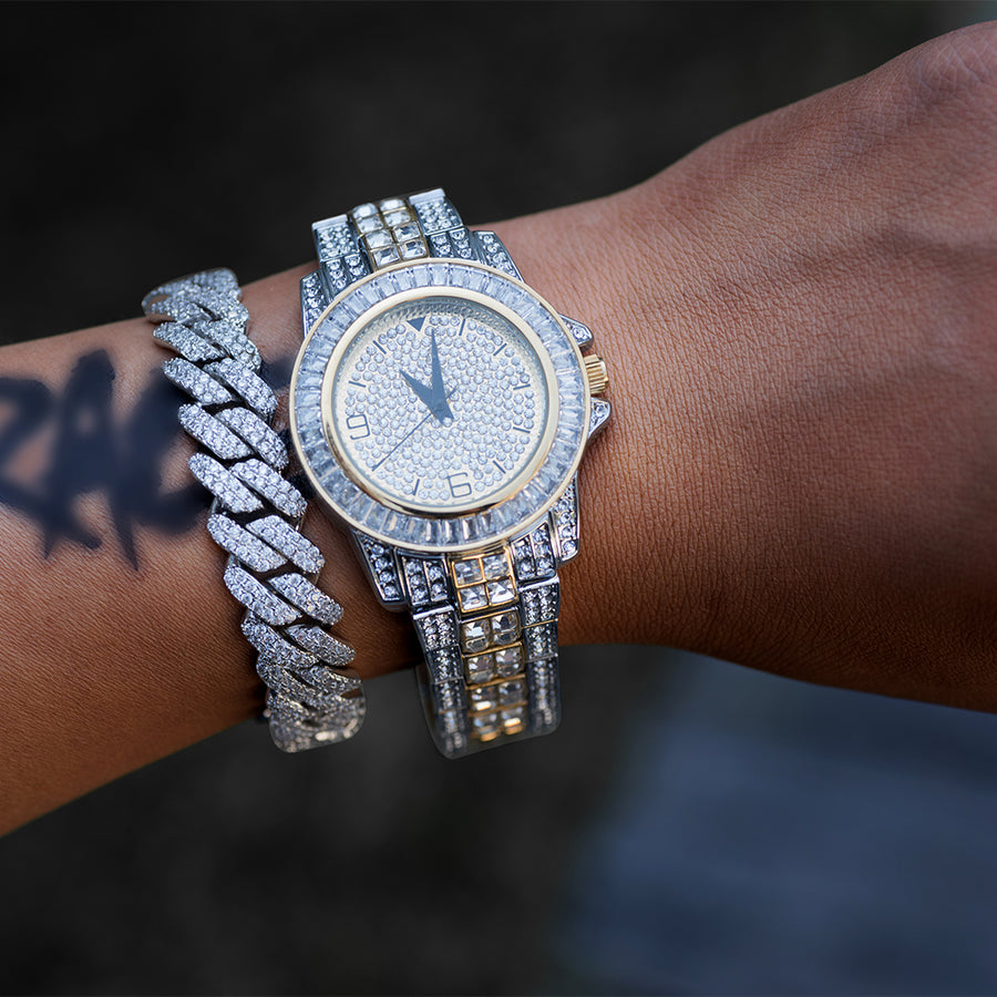 Iced Out Baguette Watch In White/Yellow Gold