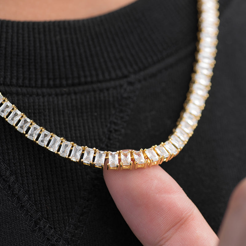 Baguette Tennis Chain (5mm) in Yellow Gold