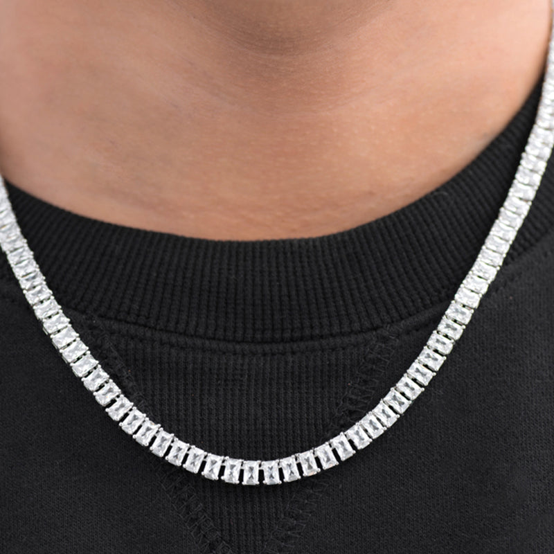 Baguette Tennis Chain (5mm) in White Gold