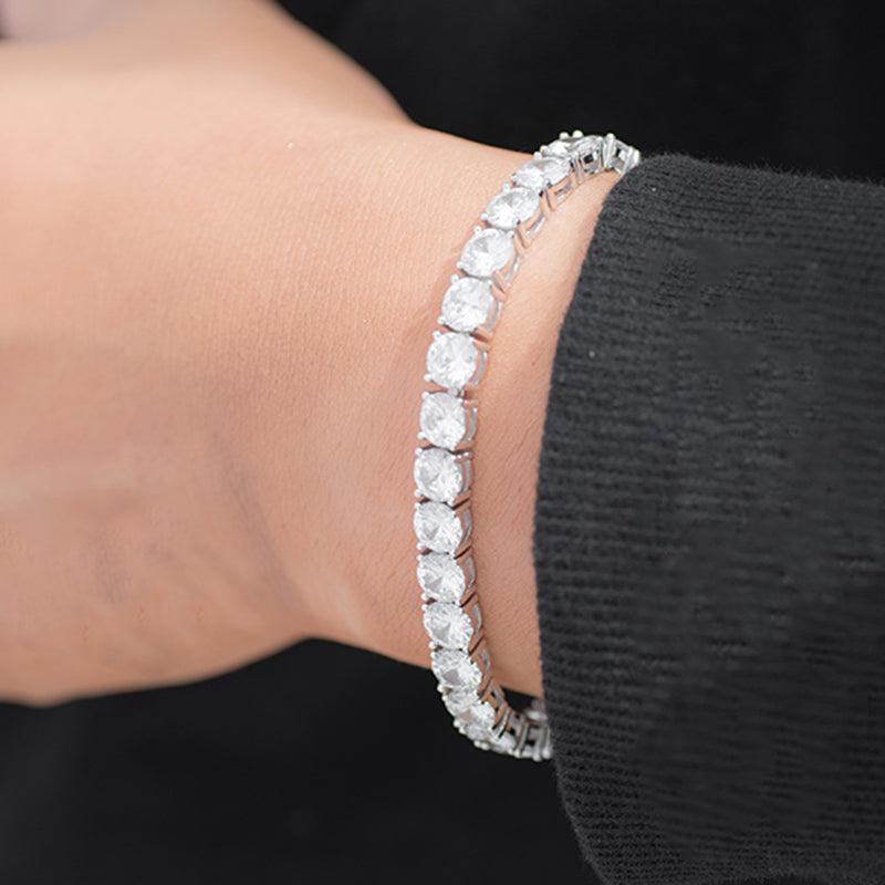 Round Cut Tennis Bracelet (6mm) in White Gold
