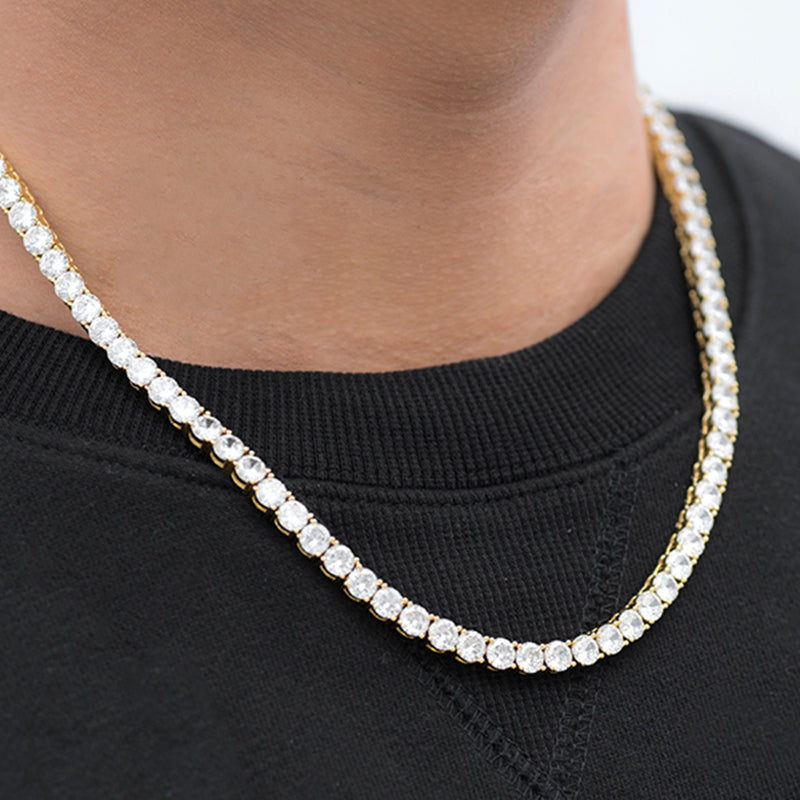 Round Cut Tennis Chain (5mm) in Yellow Gold