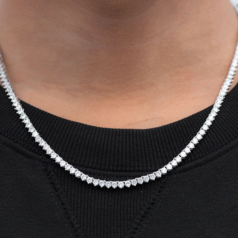 Round Cut 3 Prong Tennis Chain (3mm) in White Gold