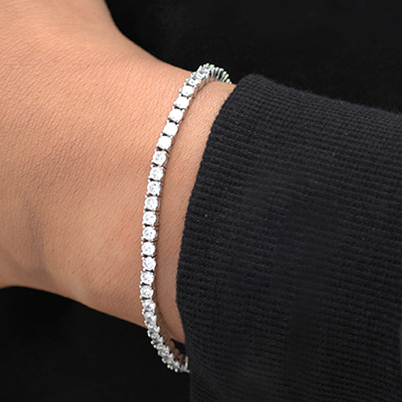 Round Cut Tennis Bracelet (3mm) in White Gold