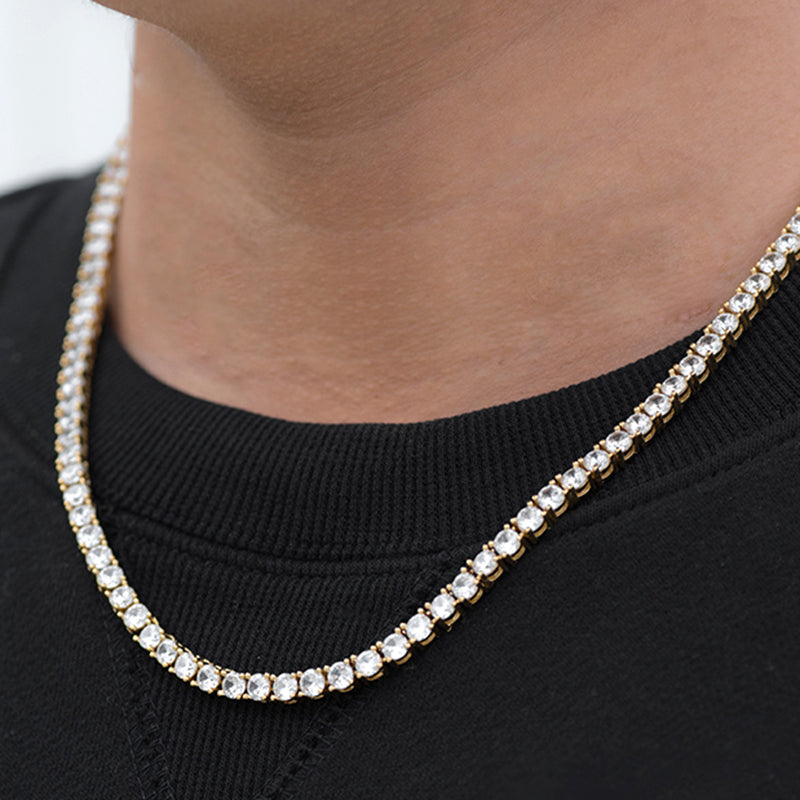 Round Cut Tennis Chain (4mm)  in Yellow Gold