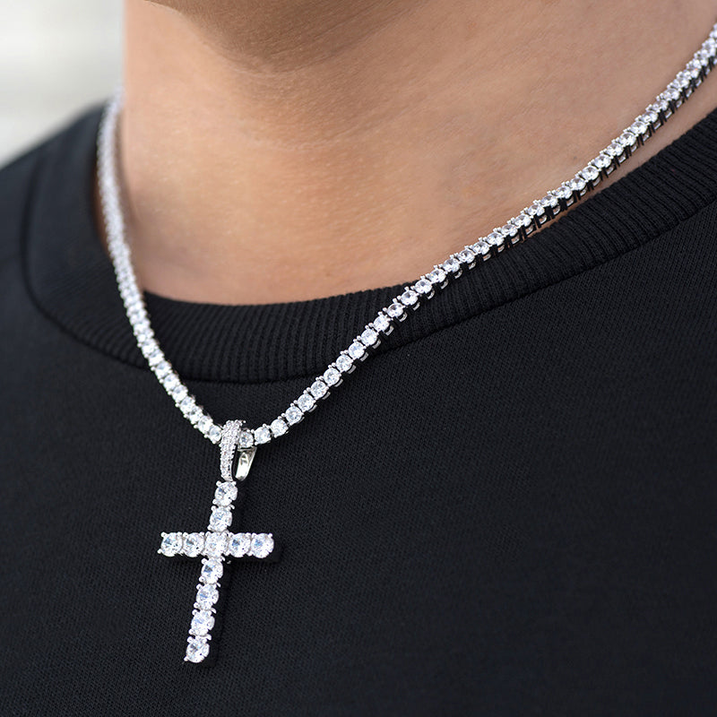 Diamond Cross Necklace + 4mm Tennis Chain