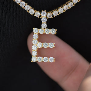 Diamond Single Letter Pendant + 4mm Tennis Chain