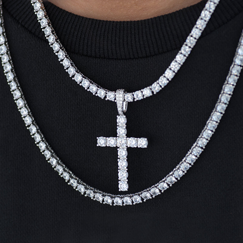 BUNDLE - Round Cut Cross + Two PCS 4mm Tennis Chain in White Gold