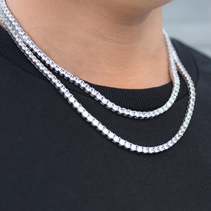 BUNDLE - 4mm Round Cut Tennis Chain 2PCS in White Gold