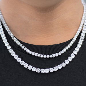 BUNDLE - 6mm Round Cut Tennis Chain + 4mm Round Cut Tennis Chain in White Gold