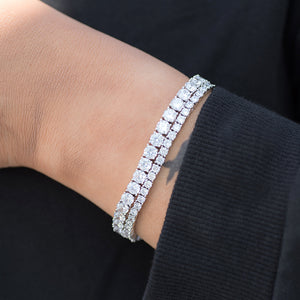 BUNDLE - 3mm Round Cut Tennis Bracelet +5mm Round Cut Tennis Bracelet