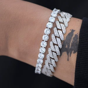 BUNDLE - 5mm Round Cut Tennis Bracelet +12mm Diamond Prong Cuban Link Bracelet