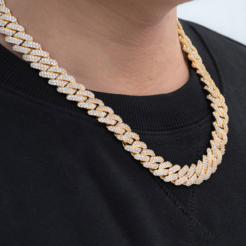 Prong Cuban Link Choker (12mm) in Yellow Gold