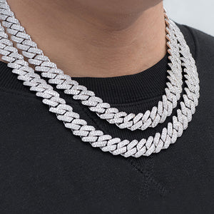 Prong Cuban Link Choker (12mm) in White Gold
