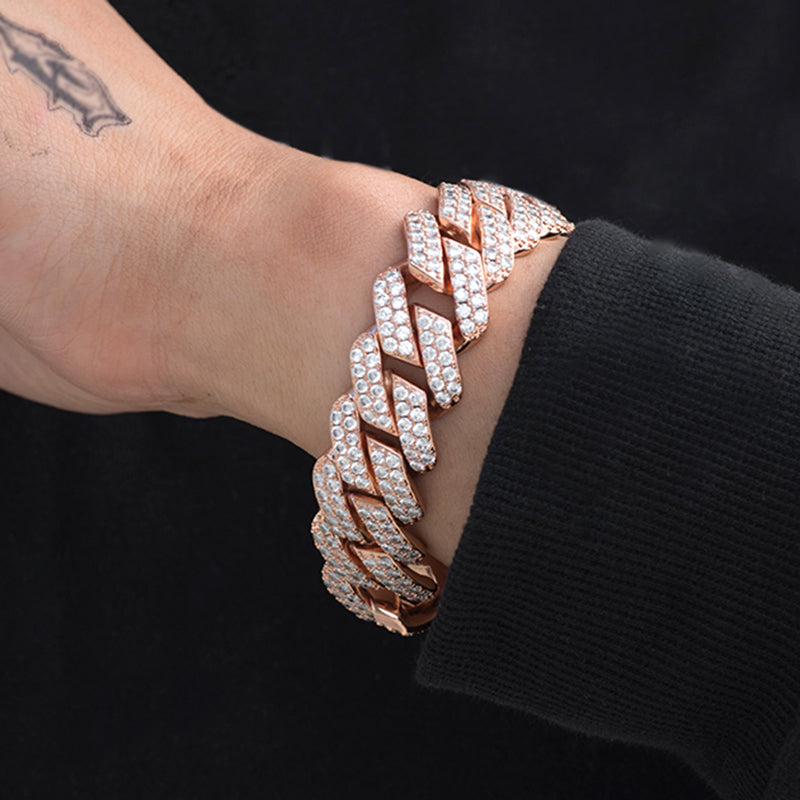 Diamond Two Rows Prong Cuban Bracelet (19mm) in Rose Gold