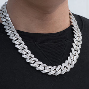 Diamond Two Rows Prong Cuban Chain (19mm) in White Gold