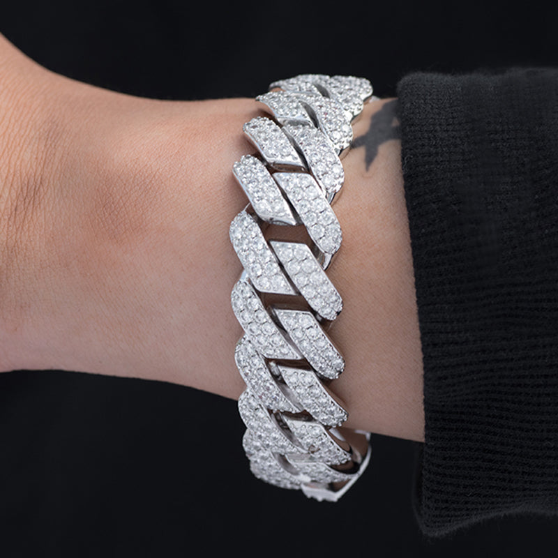 Diamond Two Rows Prong Cuban Bracelet (19mm) in White Gold