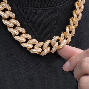 Baguette Cuban Chain (19mm) in Yellow Gold