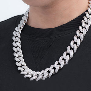 Baguette Cuban Chain (19mm) in White Gold