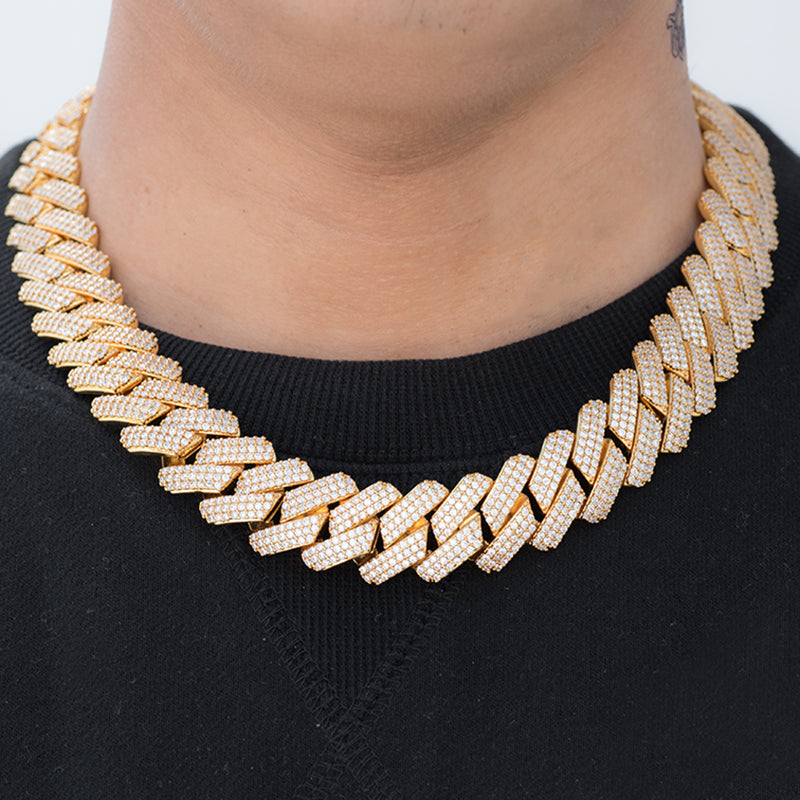 Prong Cuban Link Chain (19mm) in Yellow Gold