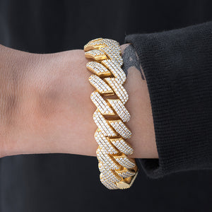 Prong Cuban Link Bracelet (19mm) in Yellow Gold