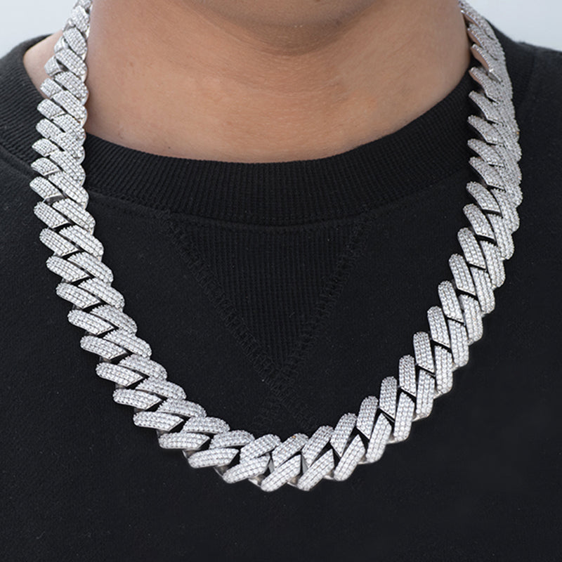 Prong Cuban Link Chain (19mm) in White Gold