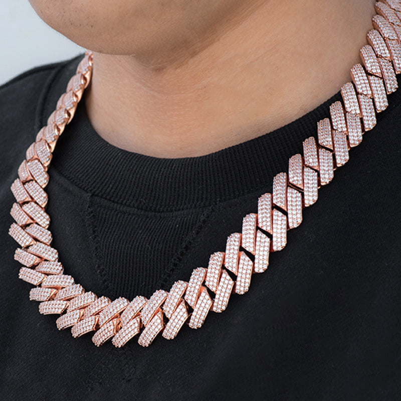 Prong Cuban Link Chain (19mm) in Rose Gold