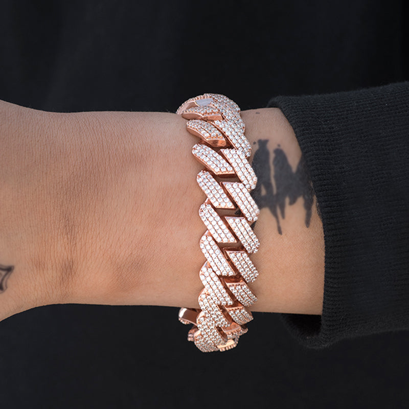 Prong Cuban Link Bracelet (19mm) in Rose Gold