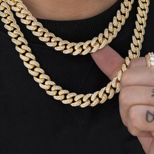 BUNDLE - Miami Cuban Link Chain (12mm) 2PCS  in Yellow Gold