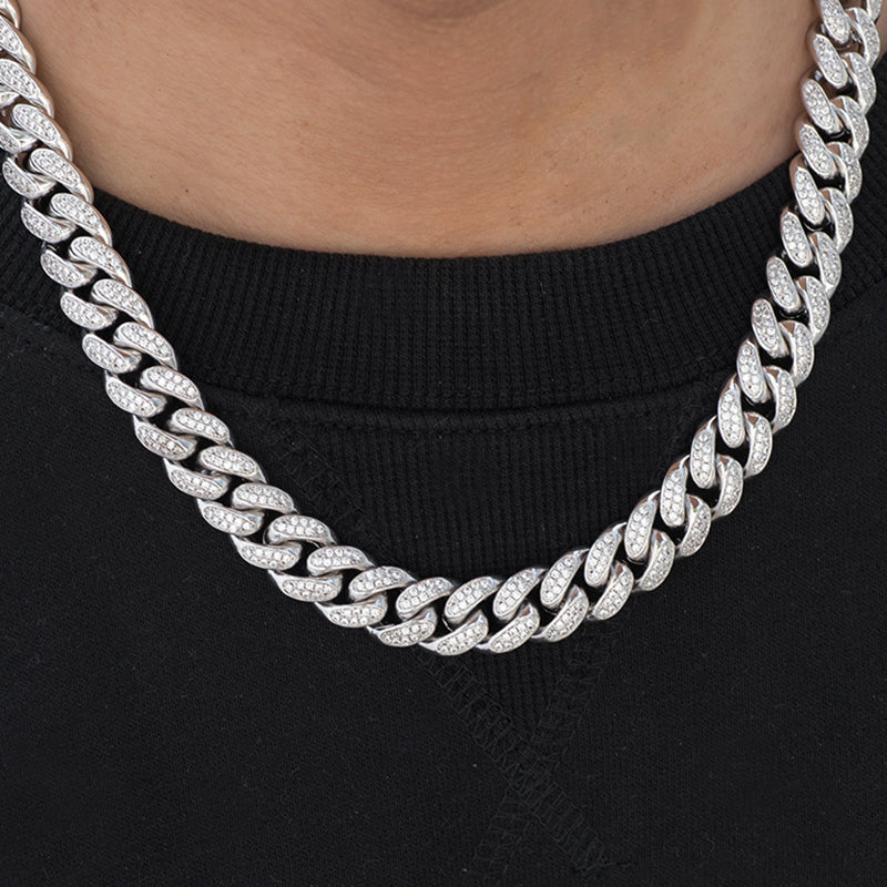 Miami Cuban Link Chain (12mm) in White Gold