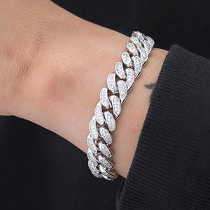 Miami Cuban Link Bracelet (12mm) in White Gold