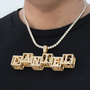 Custom Baby Hollow Block Letters Necklaces