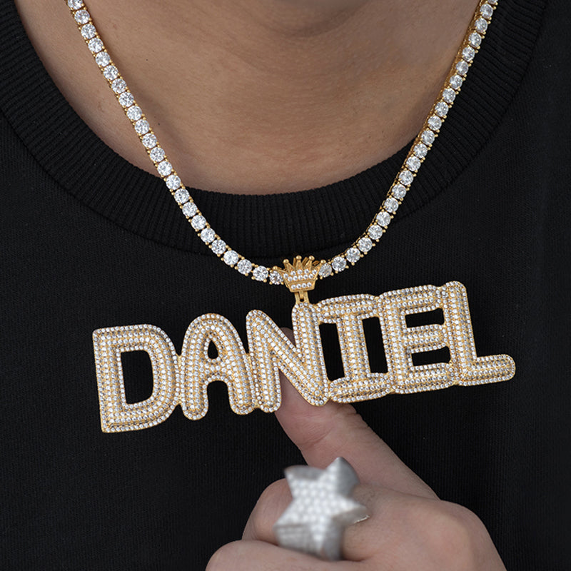 Custom Double Crowned Letters Necklace