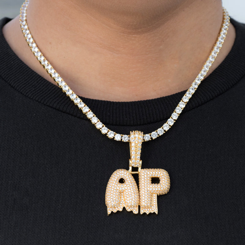 Custom Dripping Jumbo Letter Name Necklace