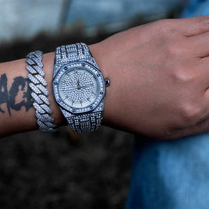 Iced Royal Watch In White Gold