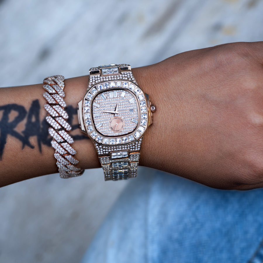 Diamond Square Baguette Watch In Rose Gold DRMD Jewelry