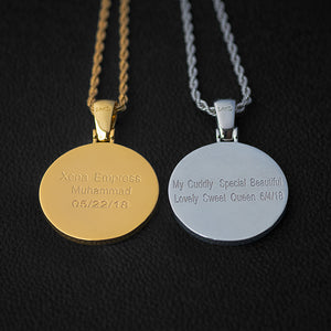 Diamond Custom Gold Round Picture Photo Pendant Necklace In White Yellow Rose Gold DRMD Jewelry