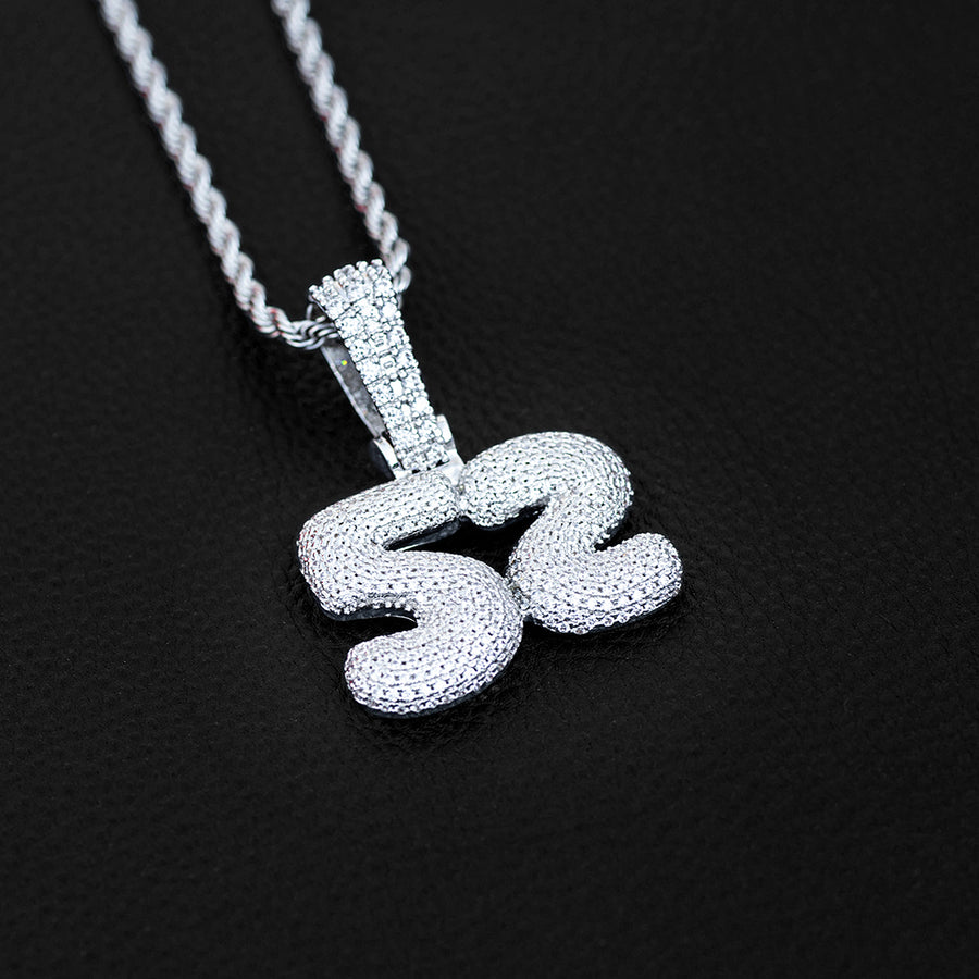 Large 3D Bubble Custom Number Necklace